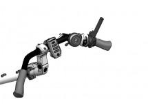 Double frein à droite (levier de frein, sélecteur de vitesses et sonnette)