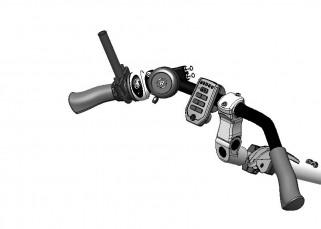 Double frein à gauche (levier de frein, sélecteur de vitesses et sonnette)
