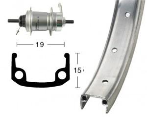 roue AR28x1 3/8 moyeu rétrop.3v IMot 36t